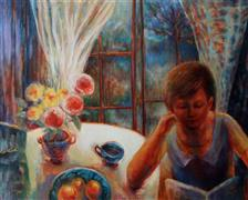 Impressionism art,People art,Still Life art,Representational art,oil painting,Girl with a Book