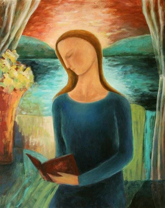 Discover Original Art by Naoko Paluszak | Woman Reading by the Lake oil painting | Art for Sale Online at UGallery