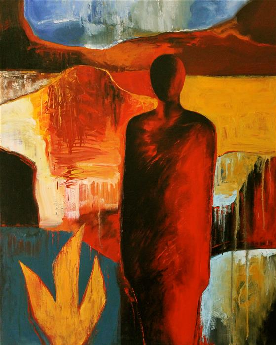 Original art for sale at UGallery.com | Figure in the Valley by NAOKO PALUSZAK | $1,150 | Oil painting | 30' h x 24' w | http://www.ugallery.com/oil-painting-figure-in-the-valley