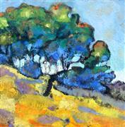 Impressionism art,Landscape art,Nature art,Representational art,encaustic artwork,Pacheco Trees