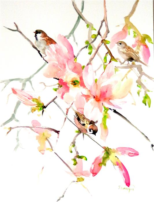 Discover Original Art by Suren Nersisyan | Sparrows and Magnolia watercolor painting | Art for Sale Online at UGallery