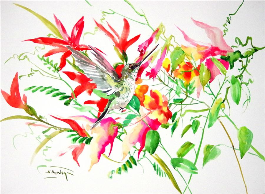 Discover Original Art by Suren Nersisyan | Hummingbird and Tropical Foliage watercolor painting | Art for Sale Online at UGallery