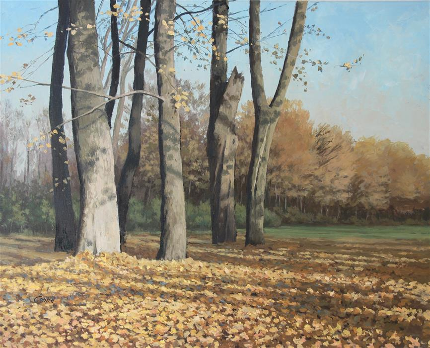 Original art for sale at UGallery.com | Autumn Trees by STEFAN CONKA | $1,300 | Oil painting | 23.7' h x 29.6' w | http://www.ugallery.com/oil-painting-autumn-trees