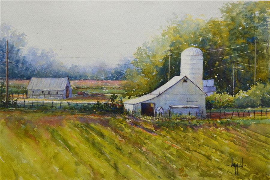 Original art for sale at UGallery.com | Down on the Farm by JUDY MUDD | $650 | Watercolor painting | 12' h x 16' w | http://www.ugallery.com/watercolor-painting-down-on-the-farm