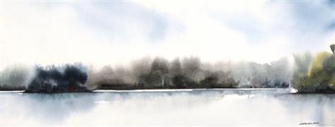 Impressionism art,Landscape art,Nature art,Representational art,watercolor painting,Bosque Mist