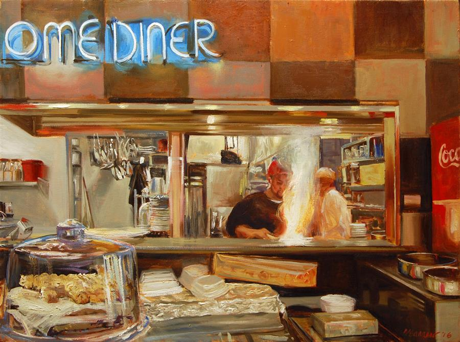 Discover Original Art by Onelio Marrero | Down Home Diner oil painting | Art for Sale Online at UGallery