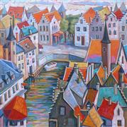 Architecture art,Impressionism art,Travel art,Representational art,oil painting,Fairytale Town, Brugge