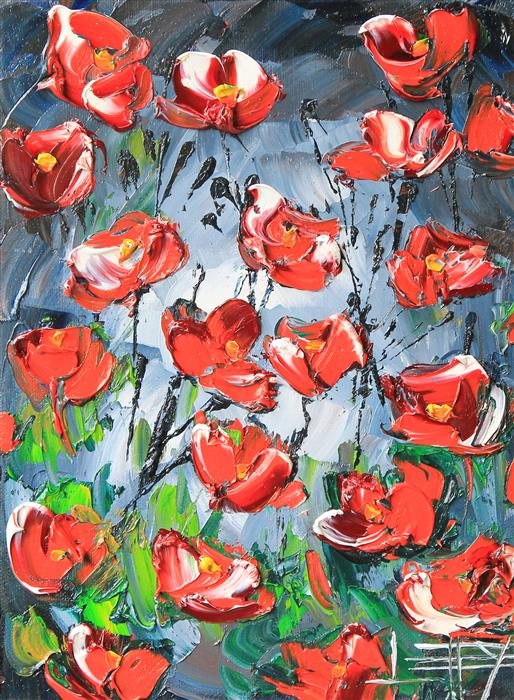 Discover Original Art by Lisa Elley | Mysterious Poppies oil painting | Art for Sale Online at UGallery