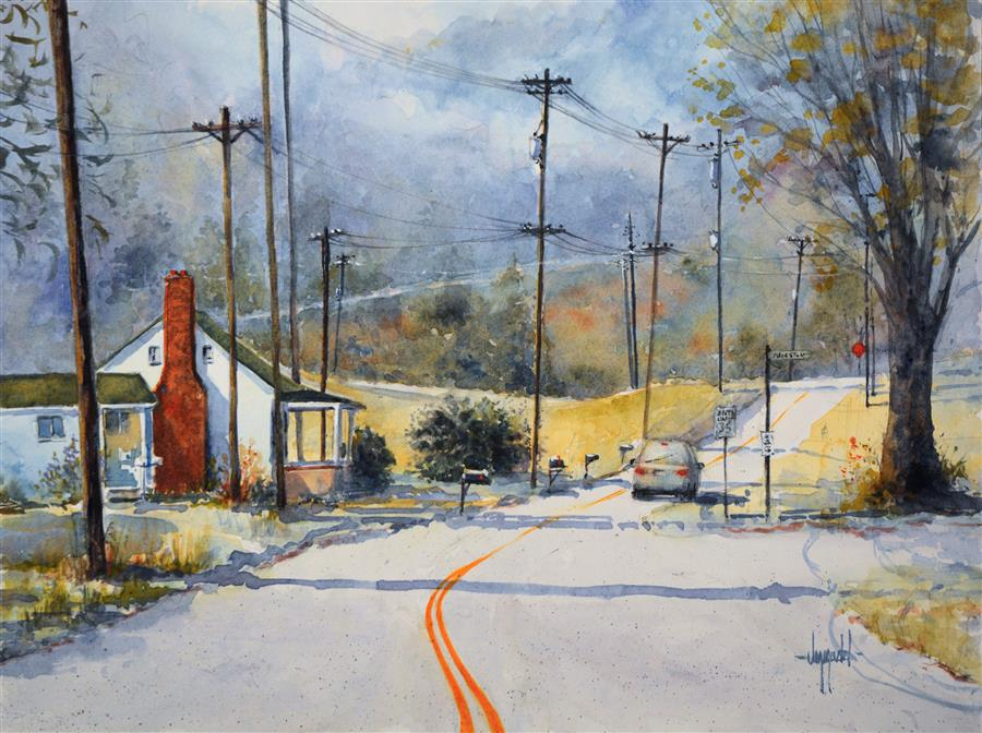 Original art for sale at UGallery.com | Wired by JUDY MUDD | $650 | Watercolor painting | 12' h x 16' w | http://www.ugallery.com/watercolor-painting-wired