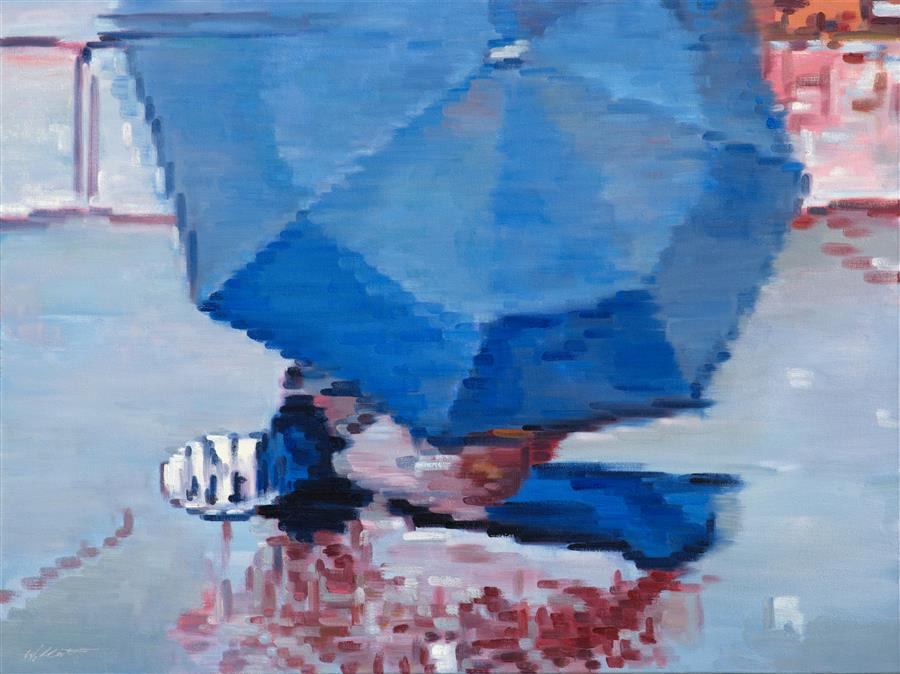 Discover Original Art by Warren Keating | Walking under Umbrella in Paris Rain oil painting | Art for Sale Online at UGallery