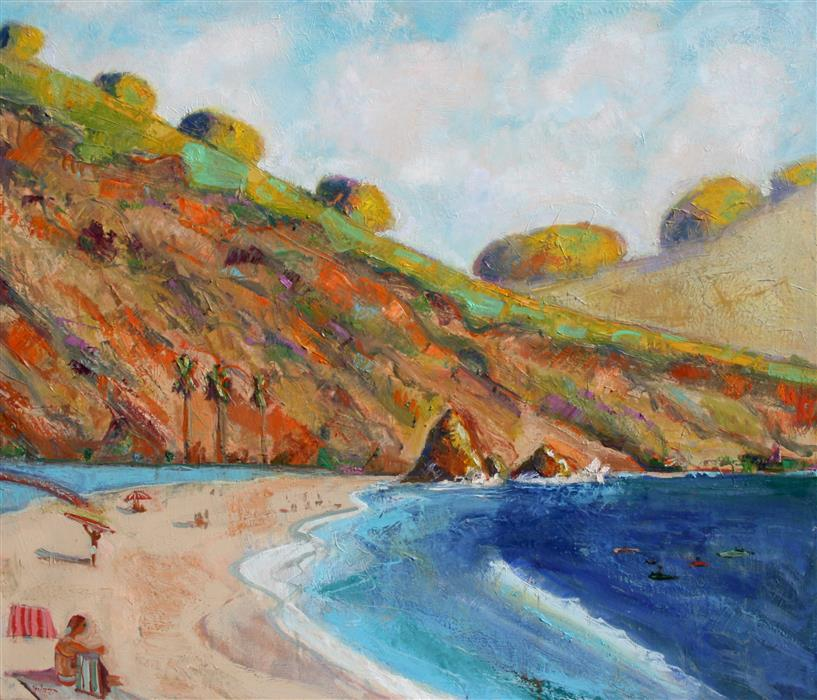 Discover Original Art by James Hartman | Rodeo Beach and Lagoon oil painting | Art for Sale Online at UGallery