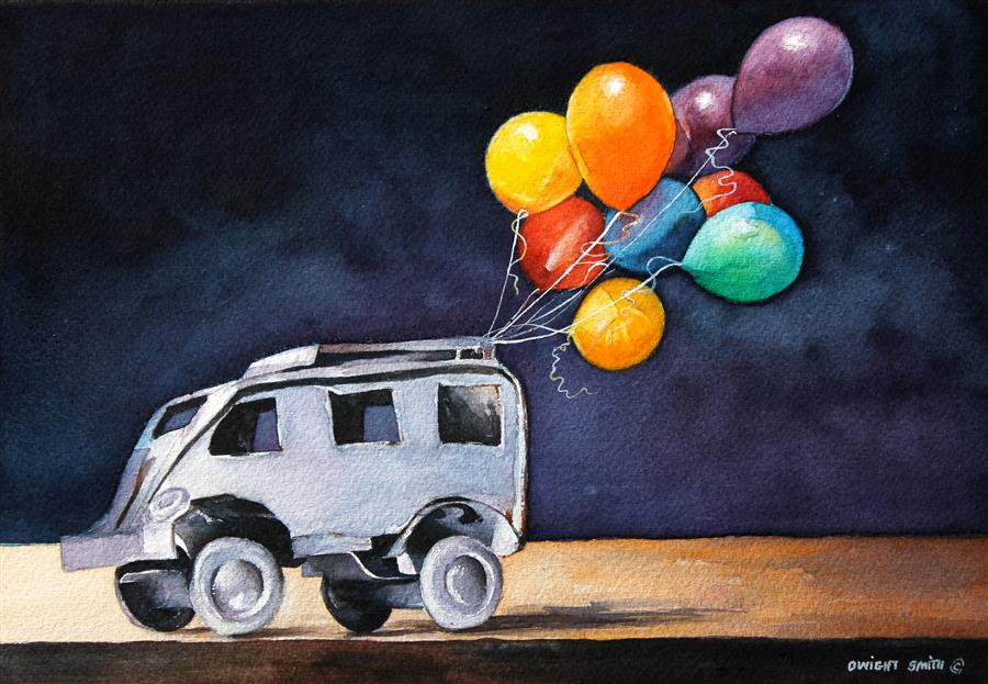 Discover Original Art by Dwight Smith | A Balloon Day watercolor painting | Art for Sale Online at UGallery