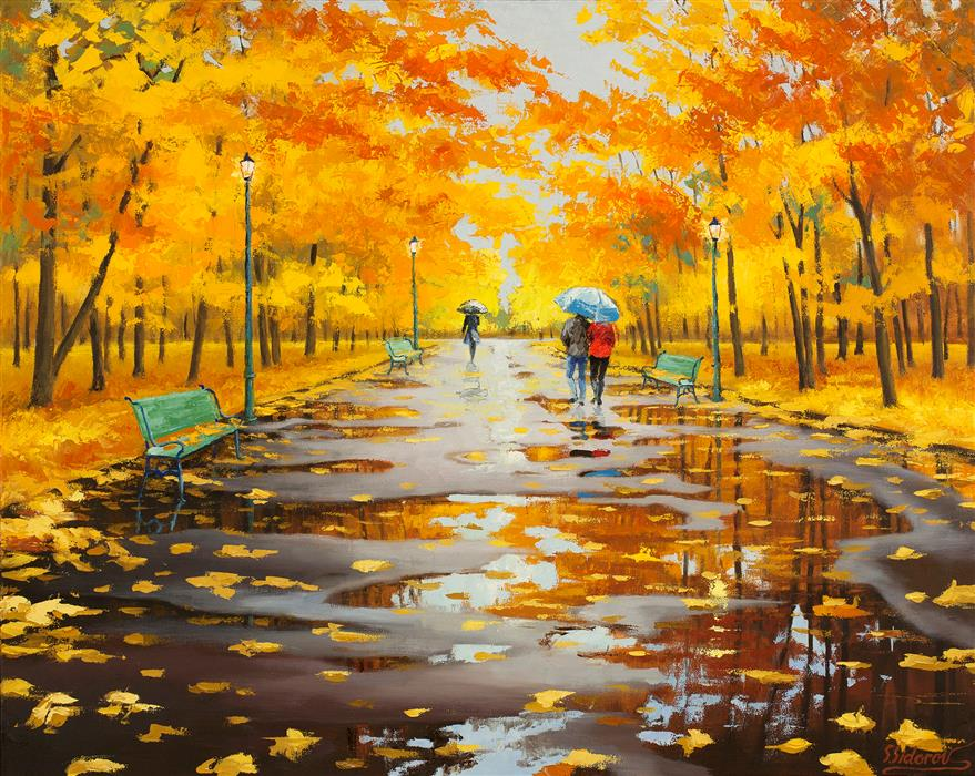 Discover Original Art by Stanislav Sidorov | Beautiful Autumn Park oil painting | Art for Sale Online at UGallery