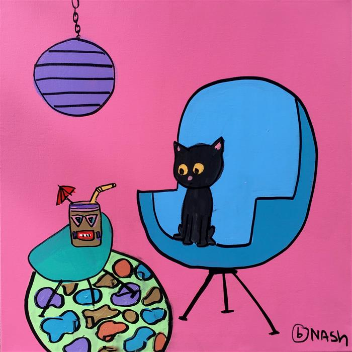 Discover Original Art by Brian Nash | Skittles Loves Tiki Drinks acrylic painting | Art for Sale Online at UGallery