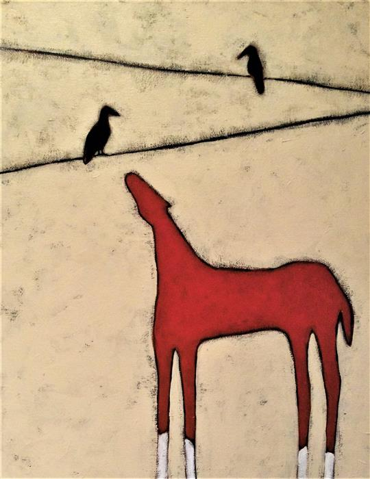Discover Original Art by Jaime Ellsworth   Red Horse acrylic painting   Art for Sale Online at UGallery