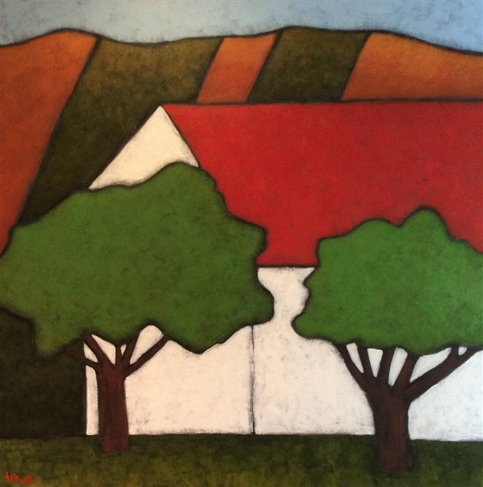 Discover Original Art by Jaime Ellsworth   Red Roof acrylic painting   Art for Sale Online at UGallery