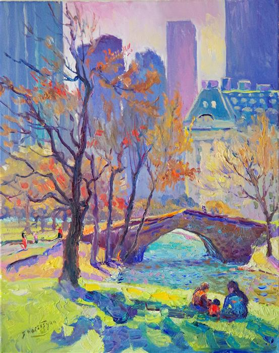 Discover Original Art by Suren Nersisyan | Morning in Central Park (New York) oil painting | Art for Sale Online at UGallery