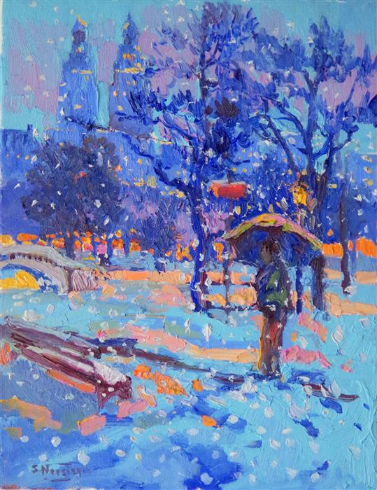Discover Original Art by Suren Nersisyan | Snowing in Central Park oil painting | Art for Sale Online at UGallery
