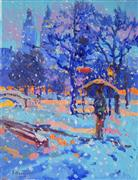 Impressionism art,Landscape art,Representational art,oil painting,Snowing in Central Park