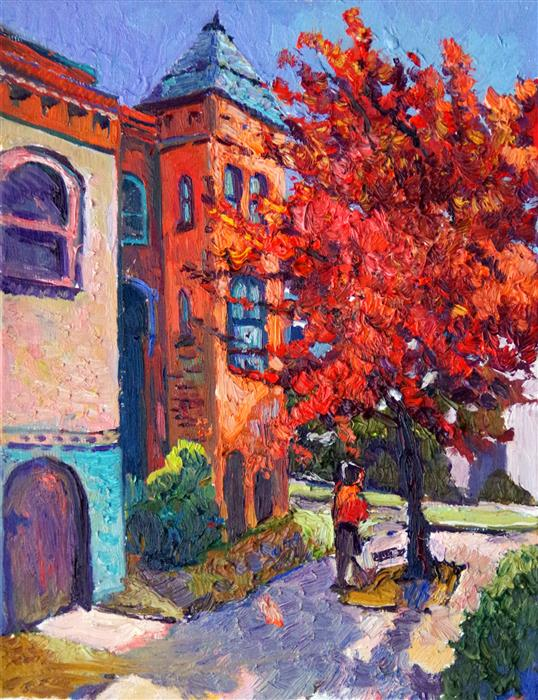 Discover Original Art by Suren Nersisyan | Street Corner with Fall Tree (Washington, DC) oil painting | Art for Sale Online at UGallery