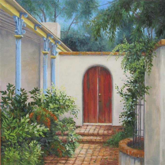 Discover Original Art by Ron Kenyon | B & B Courtyard oil painting | Art for Sale Online at UGallery