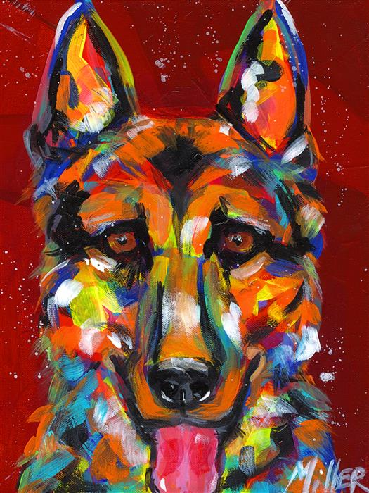 Discover Original Art by Tracy Miller | German Shepherd Smile acrylic painting | Art for Sale Online at UGallery