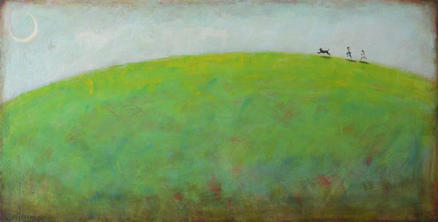 Discover Original Art by Sally Adams   Race the Moon acrylic painting   Art for Sale Online at UGallery