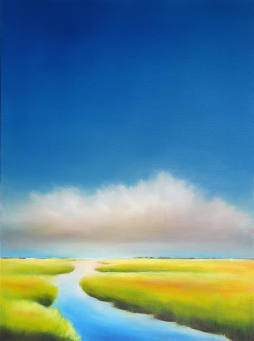 Discover Original Art by Nancy Hughes Miller   Summer Sky Marsh II oil painting   Art for Sale Online at UGallery
