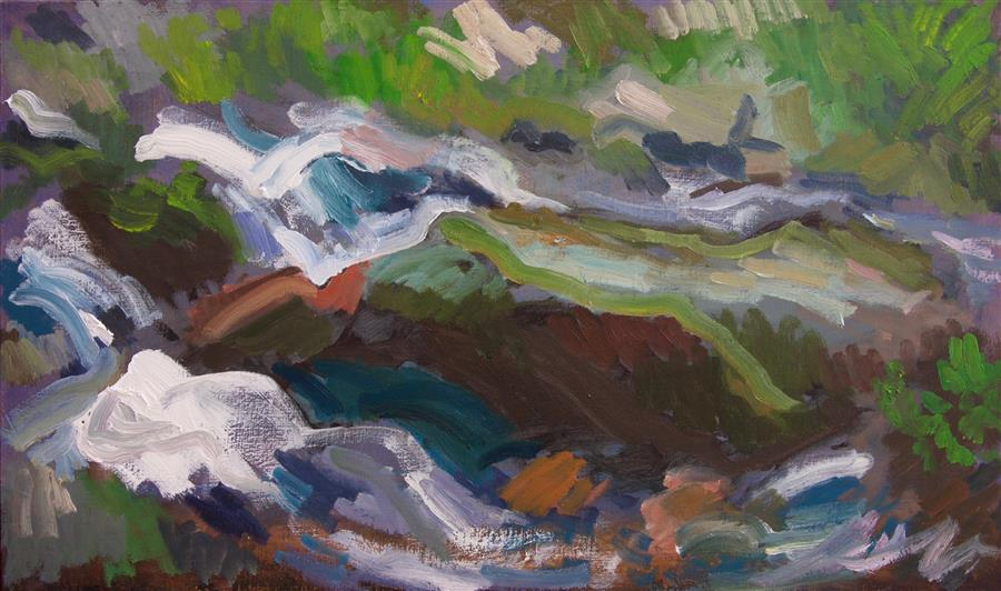 Discover Original Art by Stephen Poling | River Rock oil painting | Art for Sale Online at UGallery