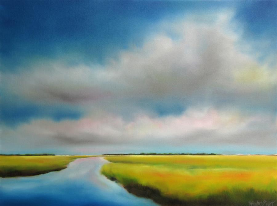 Discover Original Art by Nancy Hughes Miller | Summer Sky Marsh I oil painting | Art for Sale Online at UGallery
