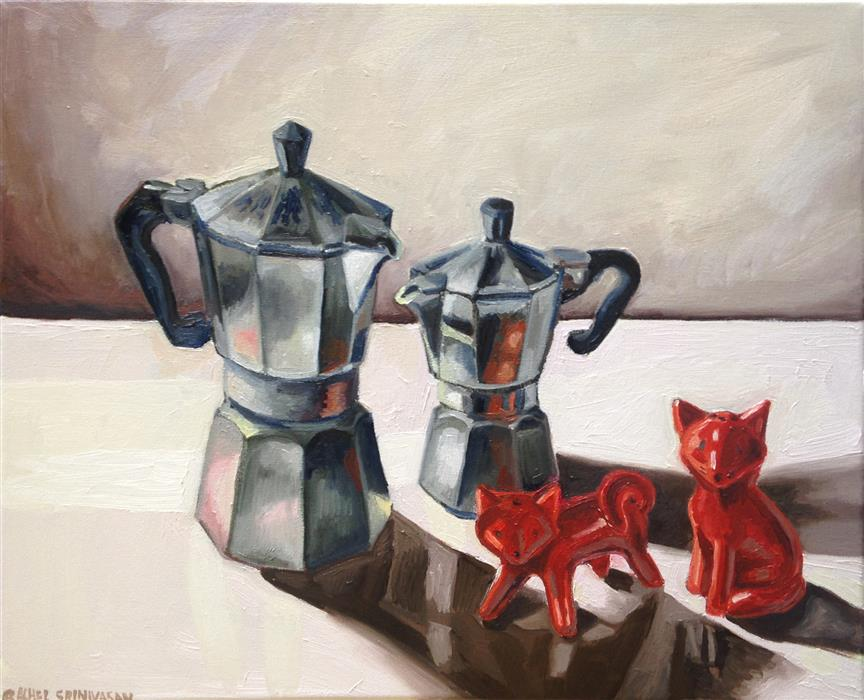 Discover Original Art by Rachel Srinivasan | Fox Coffee oil painting | Art for Sale Online at UGallery