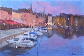 Architecture art,Impressionism art,Seascape art,Travel art,Representational art,oil painting,Evening Lights in Honfleur