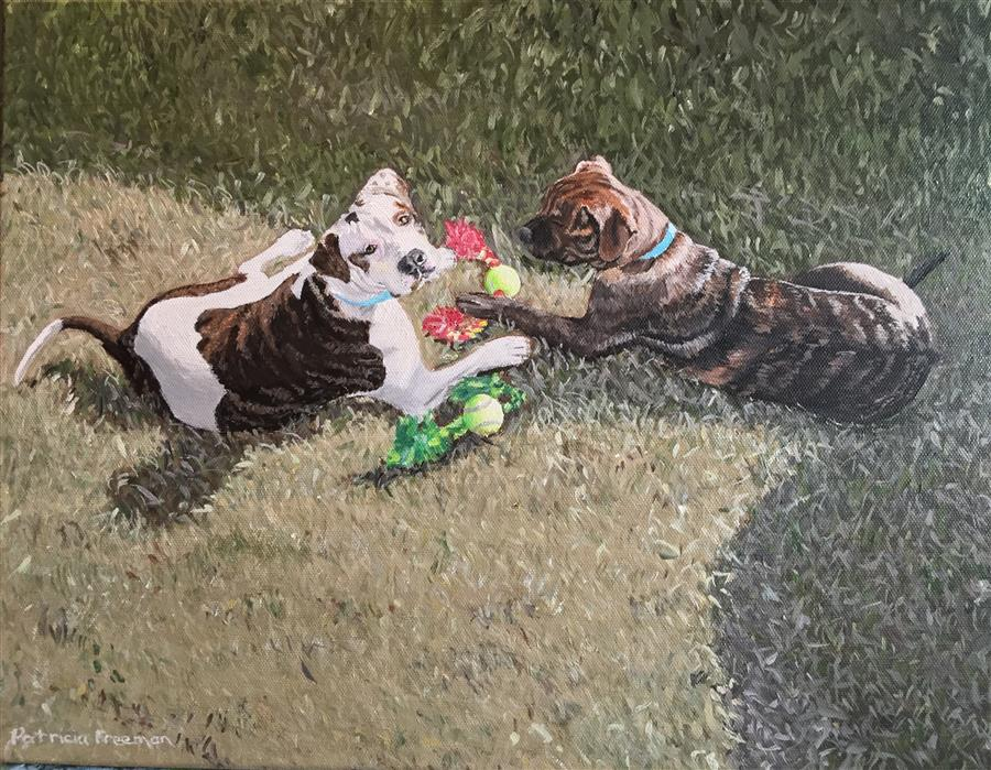 Discover Original Art by Patricia Freeman | Toy Testing acrylic painting | Art for Sale Online at UGallery