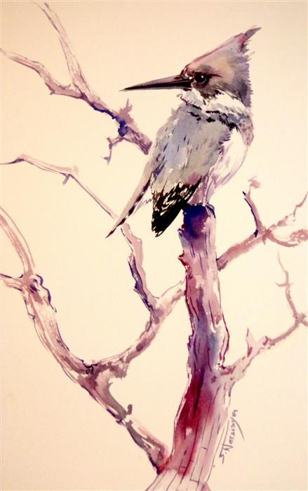 Discover Original Art by Suren Nersisyan | Belted Kingfisher (Vertical) watercolor painting | Art for Sale Online at UGallery