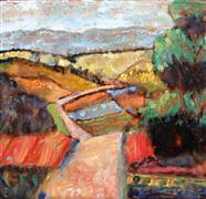 Impressionism art,Landscape art,Representational art,encaustic artwork,Mountain Farm