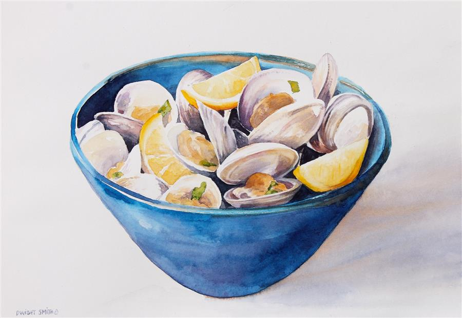 Discover Original Art by Dwight Smith | Bowl of Clams watercolor painting | Art for Sale Online at UGallery