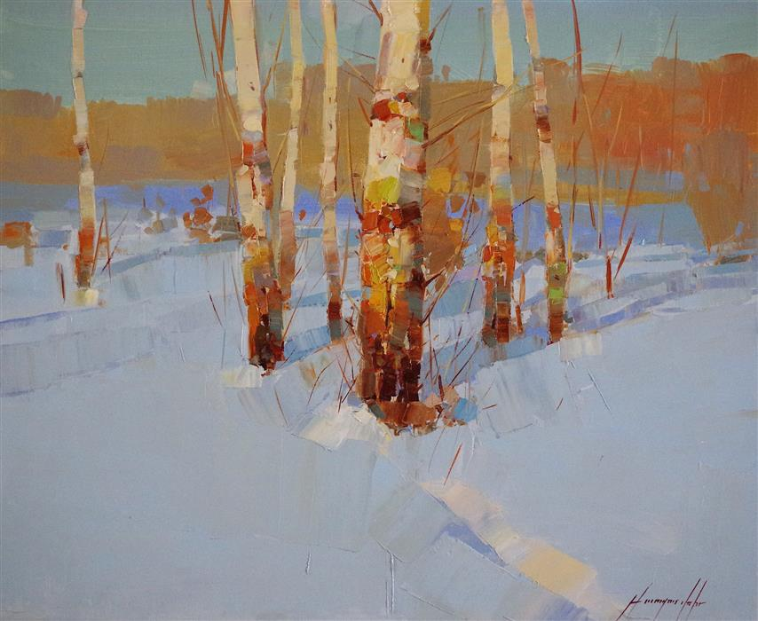 Discover Original Art by Vahe Yeremyan | Winter Day oil painting | Art for Sale Online at UGallery