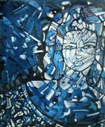 Expressionism art,Fantasy art,People art,Representational art,mixed media artwork,Woman in Blue