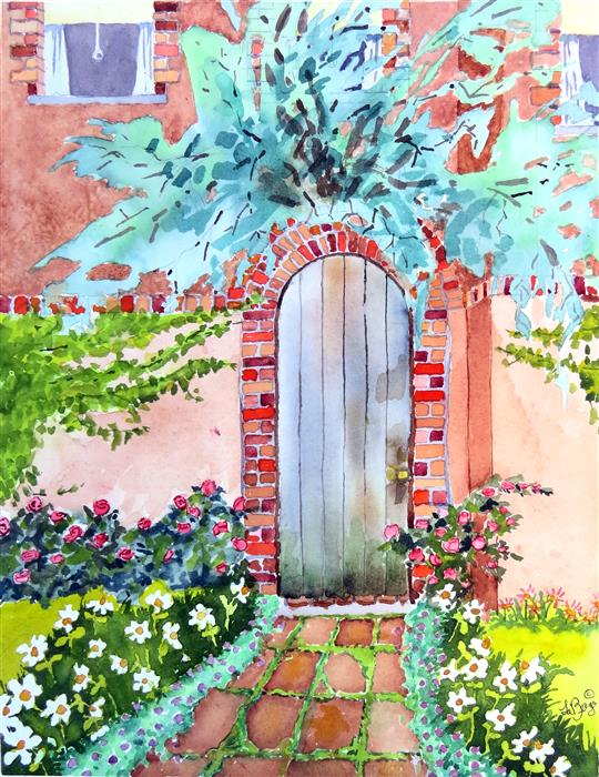 Discover Original Art by Nancy Muren | Garden Gate watercolor painting | Art for Sale Online at UGallery