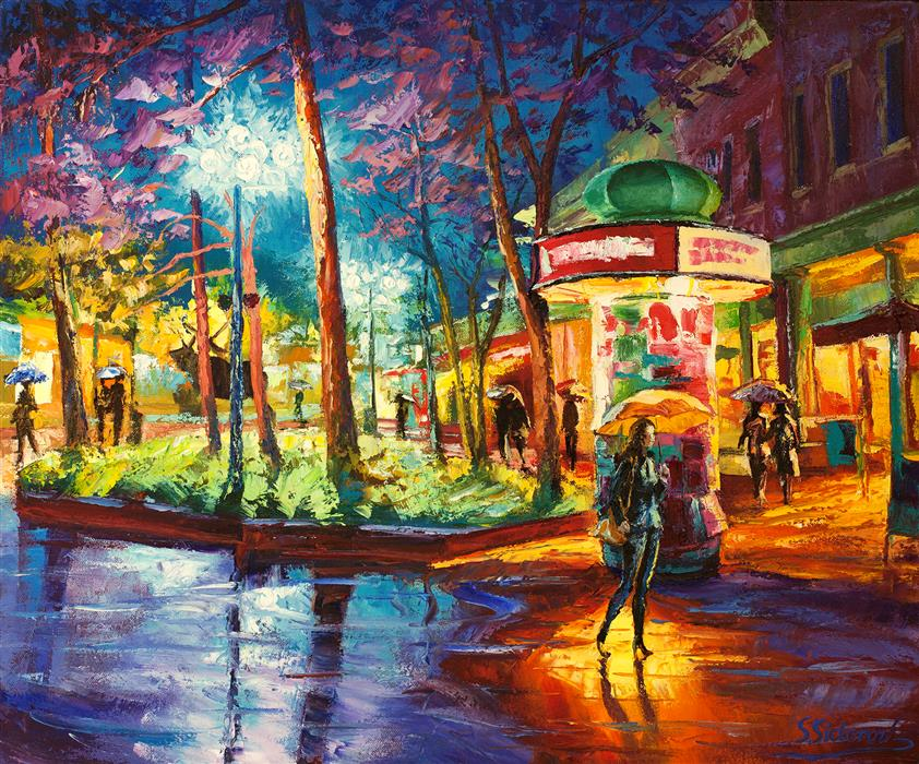 Discover Original Art by Stanislav Sidorov | Yellow Umbrella, Pearl Street, Denver oil painting | Art for Sale Online at UGallery