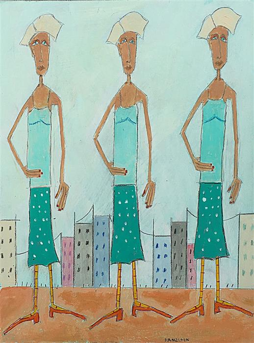Discover Original Art by Rick Hamilton | Three Women in the City acrylic painting | Art for Sale Online at UGallery