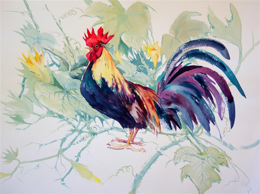 Discover Original Art by Suren Nersisyan | Rooster and Pumpkin watercolor painting | Art for Sale Online at UGallery