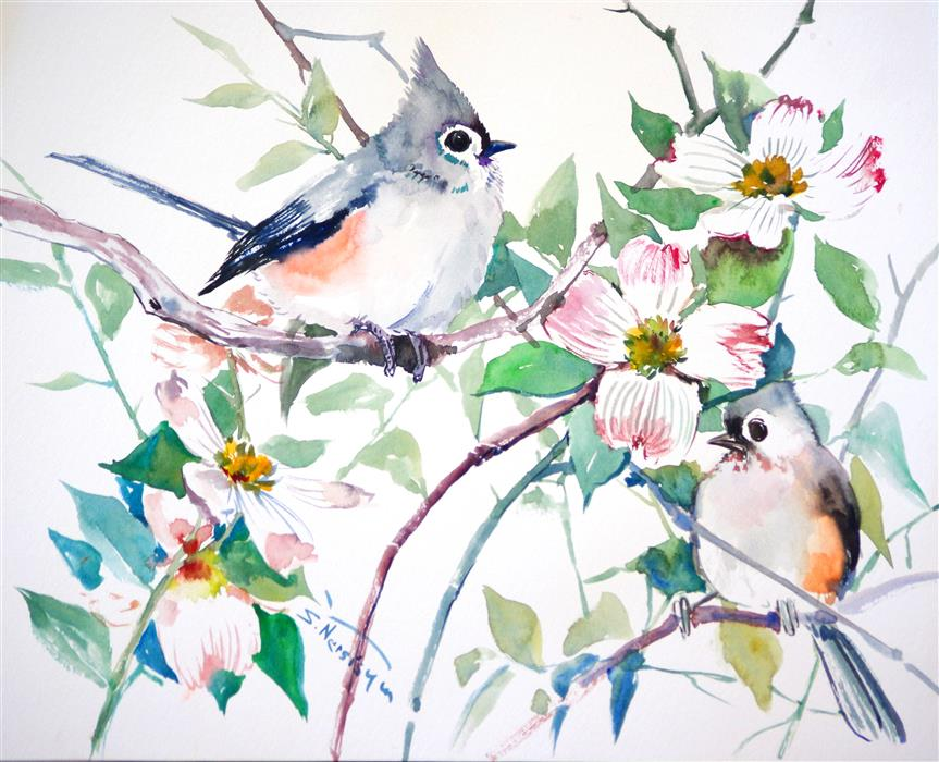 Discover Original Art by Suren Nersisyan | Titmice and Dogwood watercolor painting | Art for Sale Online at UGallery