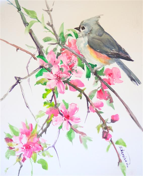 Discover Original Art by Suren Nersisyan | Titmouse and Sakura (Cherry Blossom) watercolor painting | Art for Sale Online at UGallery