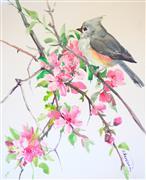 Impressionism art,Animals art,Nature art,Flora art,Representational art,watercolor painting,Titmouse and Sakura (Cherry Blossom)