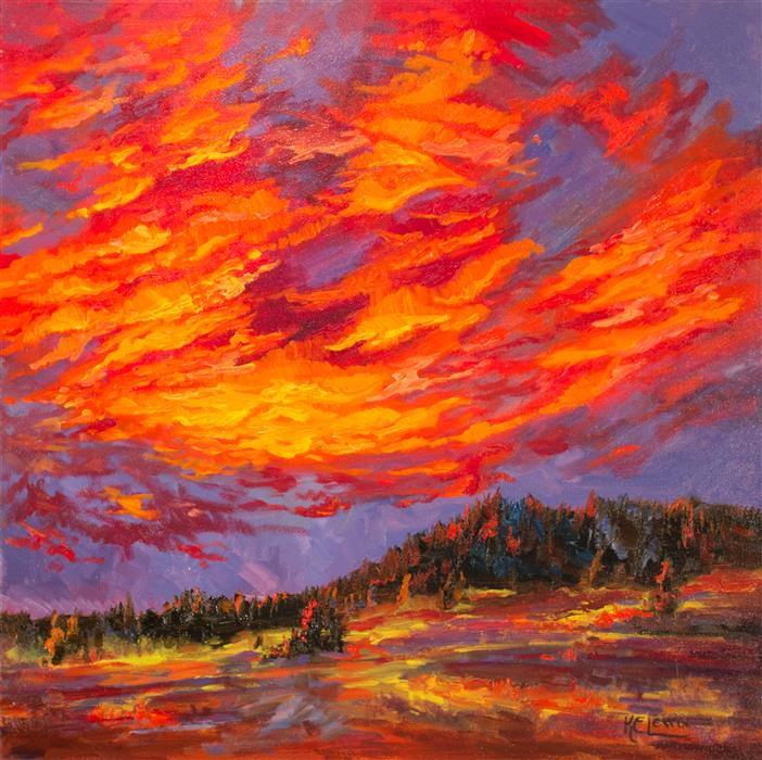 Discover Original Art by Karen E Lewis | Sunset Relight oil painting | Art for Sale Online at UGallery