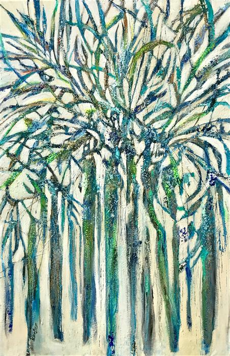 Discover Original Art by DL Watson   Blue Palms acrylic painting   Art for Sale Online at UGallery