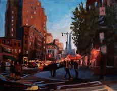 Architecture art,Impressionism art,Travel art,Representational art,oil painting,Manhattan Crosswalk
