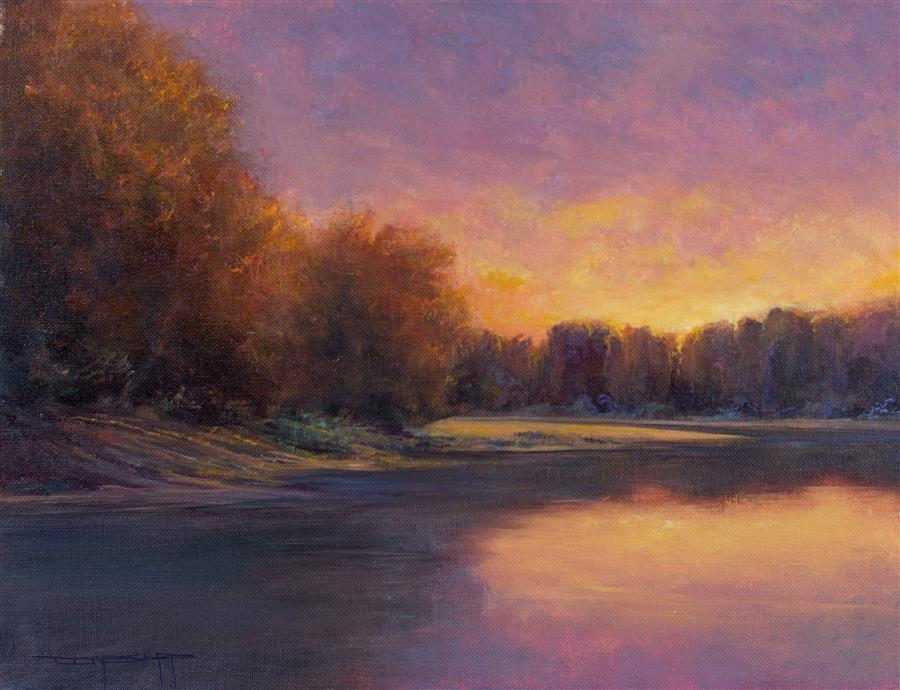 Discover Original Art by Don Bishop | Lake Sunset oil painting | Art for Sale Online at UGallery