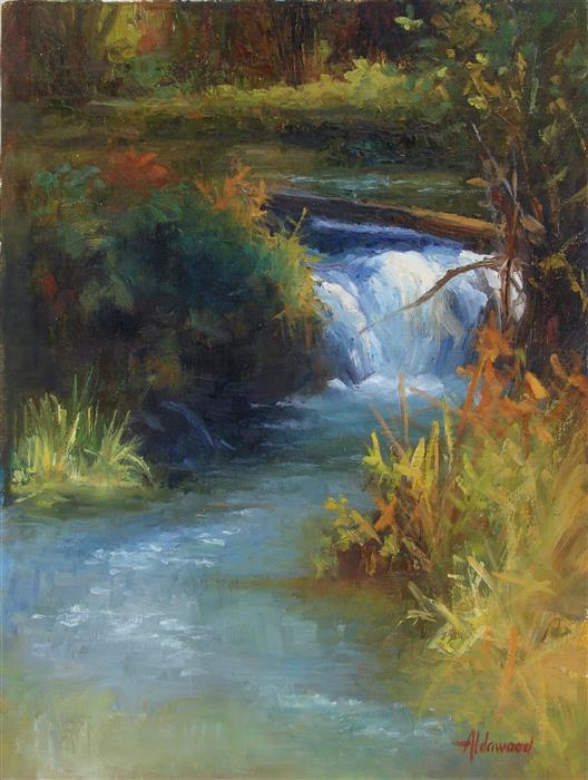 Discover Original Art by Sherri Aldawood | Little Colorado Waterfall oil painting | Art for Sale Online at UGallery